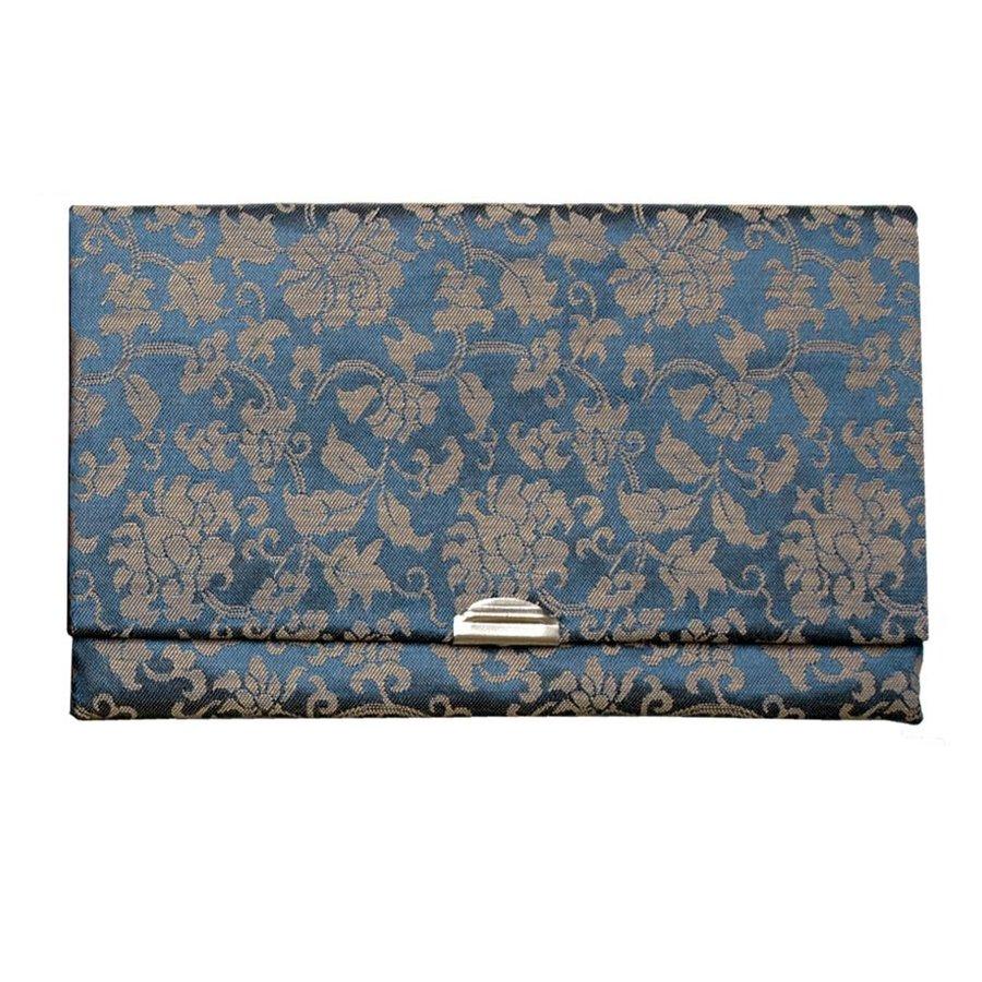 マチ無し数珠袋 古渡緞子 青色 約16×10cm