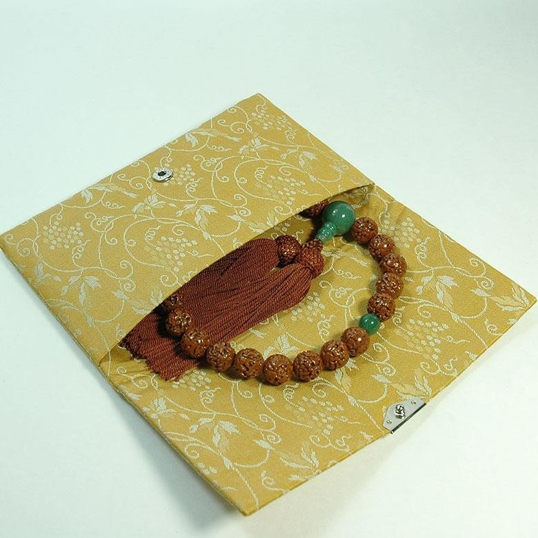 マチ無し数珠袋 古渡緞子 黄色 約16×10cm