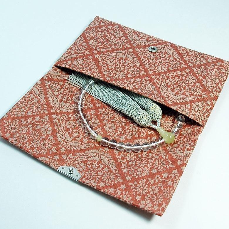 マチ無し数珠袋 古渡緞子 赤色 約16×10cm