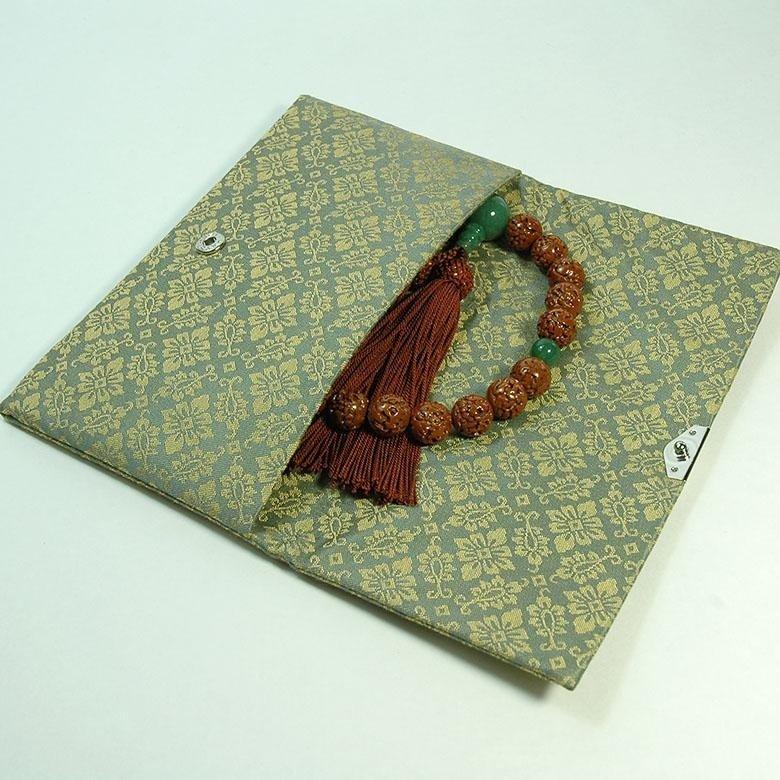 マチ無し数珠袋 古渡緞子 緑色 約16×10cm