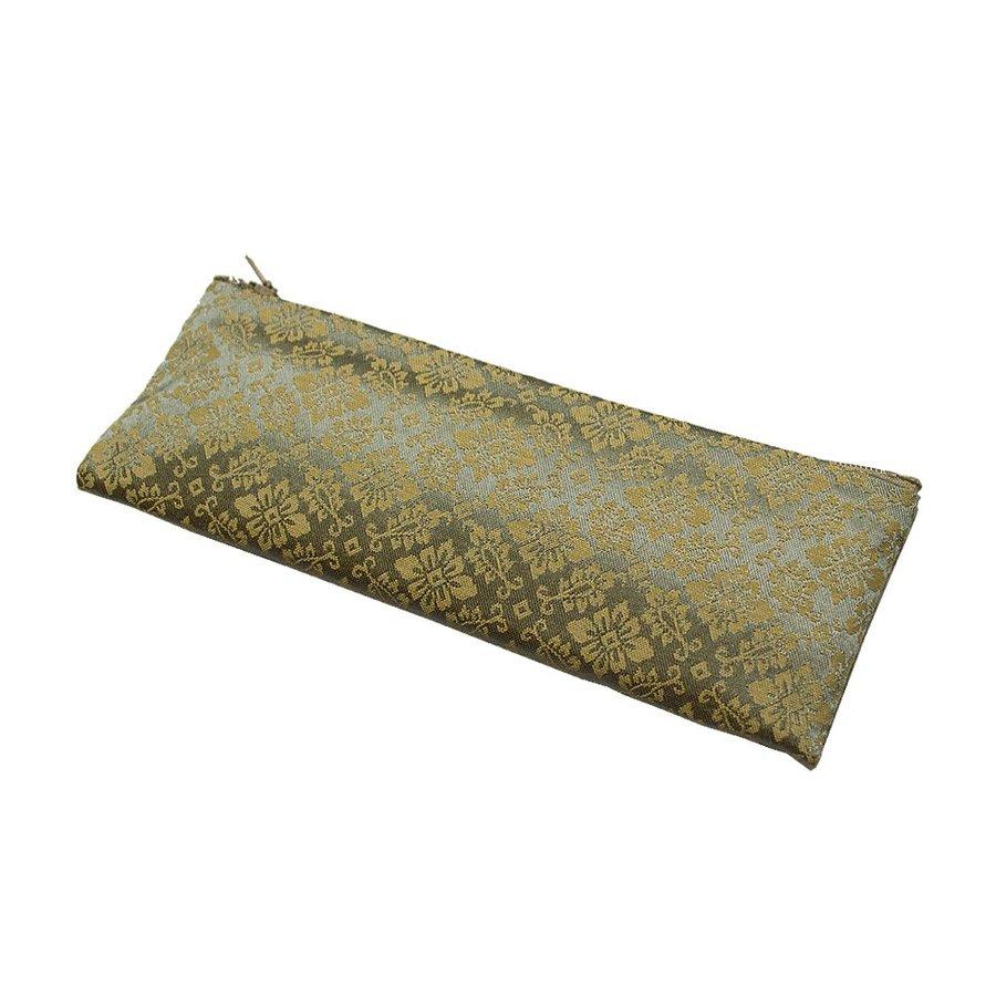 【在庫限】ペンケース型数珠袋 古渡緞子 ファスナー式[約18×7cm] 緑色