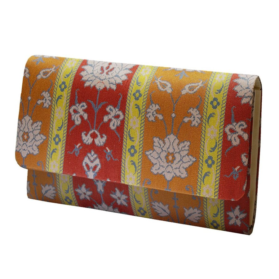 マチ付き数珠袋 約16×10cm 龍村錦-モール手花卉文(てかきもん)