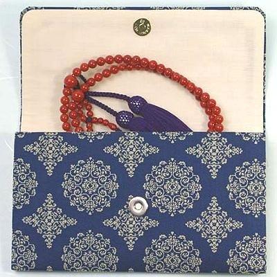 マチ付き数珠袋 約16×10cm 龍村錦-稜華文錦(りょうかもんにしき)