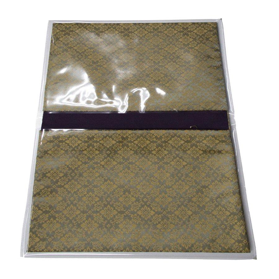ブック型 経本数珠入れ/経本数珠袋 古渡緞子 緑色 約17.5×25cm 片方ポケット/片方ファスナー付