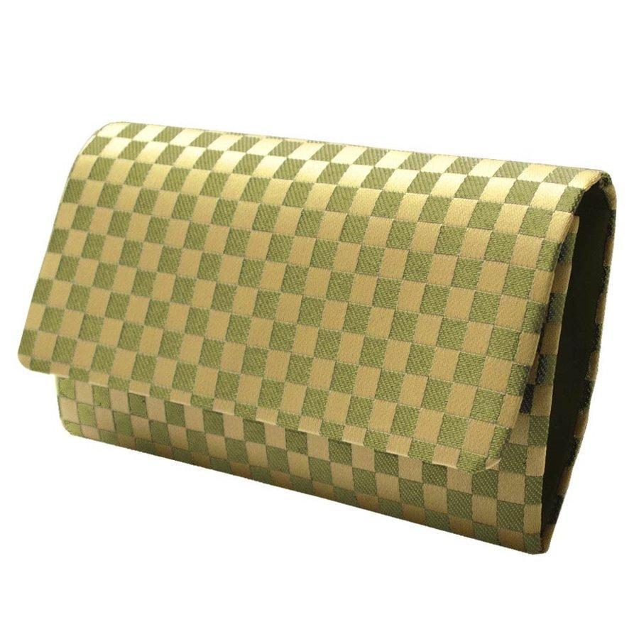 【在庫限】数珠袋 市松柄(黄緑色) 約16×9.5cm