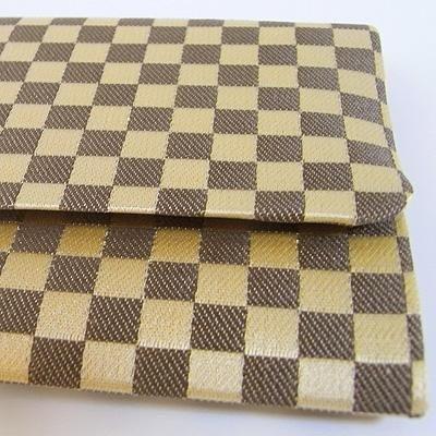 【在庫限】数珠袋 市松柄 茶色 約16×9.5cm