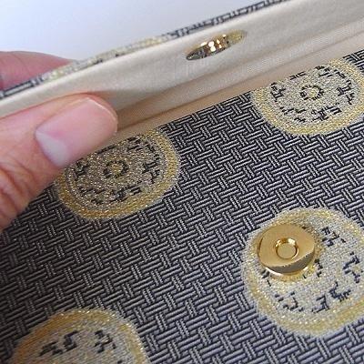 マチ付き数珠袋 約16×10cm 龍村錦-糸屋輪宝手(いとやりんぼうて)