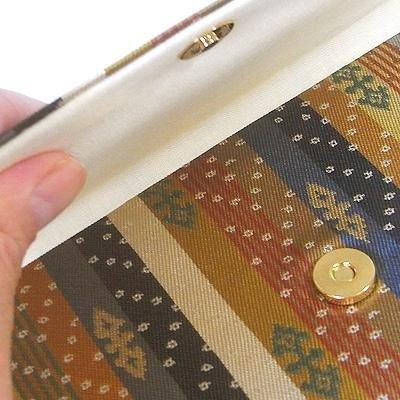 マチ付き数珠袋 約16×10cm 龍村錦-天平段文(てんぴょうだんもんにしき)
