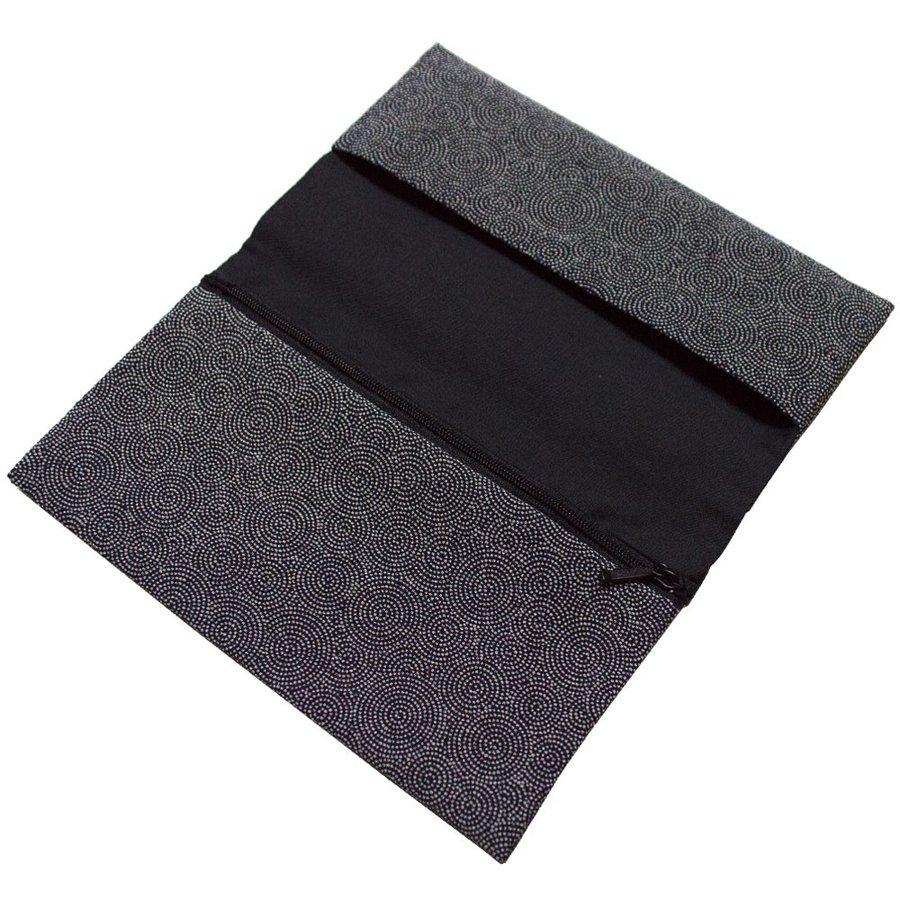 【経本数珠入れ/数珠袋 兼 金封ふくさ】男性用 渦小紋 くろ 20.5×12cm ※内ポケットに入れやすいソフトタイプ