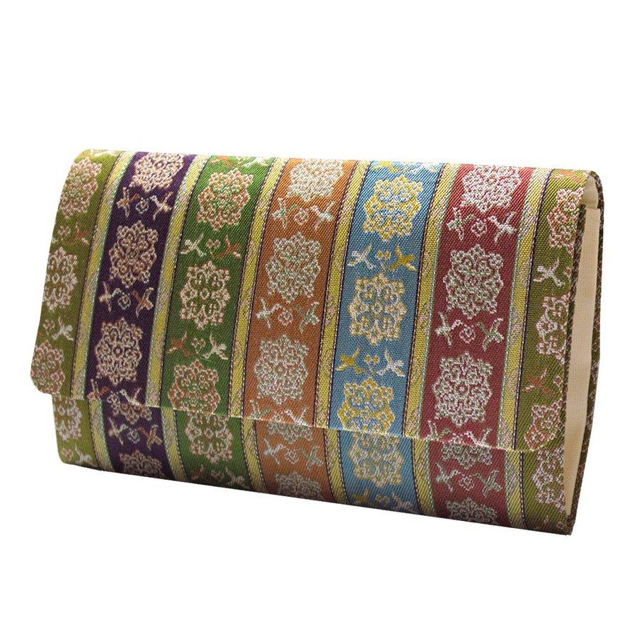 マチ付き数珠袋 約16×10cm 龍村錦-唐花雙鳥長斑錦(からはなそうちょうちょうはんきん)