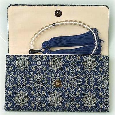 マチ付き数珠袋 約16×10cm 龍村錦-葡萄唐草文錦(ぶどうからくさもんにしき)
