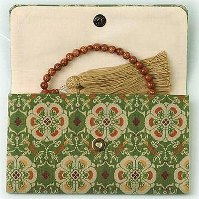 マチ付き数珠袋 約16×10cm 龍村錦-花鳥梅花文錦(かちょうばいかもんにしき)