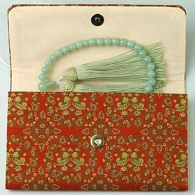 マチ付き数珠袋 約16×10cm 龍村錦-鴛鴦唐草文錦(おしどりからくさもんにしき)