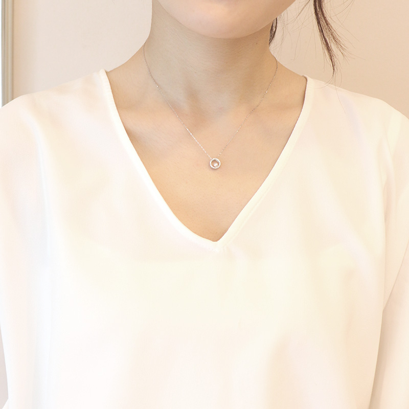 【一点物】【品質保証付き】 アコヤパール×ダイヤモンド 18金 サークルデザインネックレス