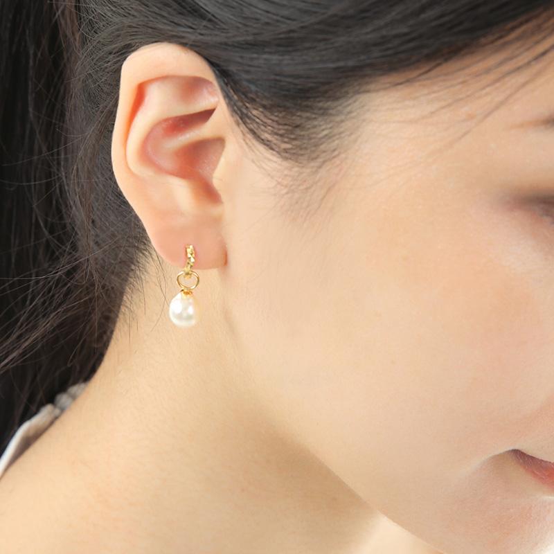 【数量限定】【品質保証付き】 アコヤパール  ホワイト バロック型 18金フープピアス 【ご自分へのご褒美・プレゼントにもおすすめ】