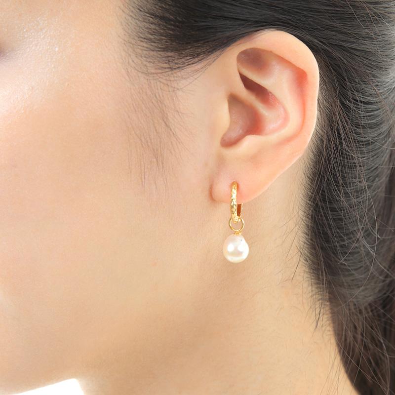 【数量限定】【品質保証付き】 アコヤパール  ホワイト バロック型 18金ミニフープピアス 【ご自分へのご褒美・プレゼントにもおすすめ】