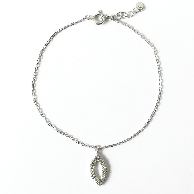 【一点物】【品質保証付き】ダイヤモンドチャーム付き チェーン ブレスレット 18金ホワイトゴールド