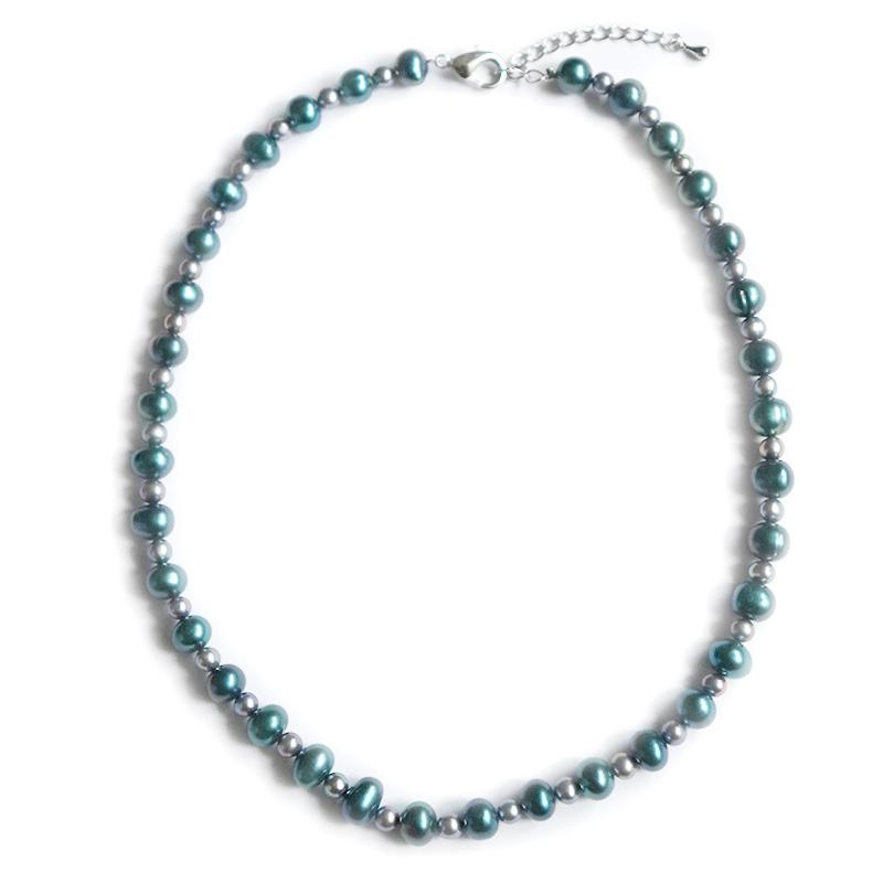 【OUTLET商品】【お買い得プライス】淡水パール ネックレス(ブルーグリーン×グレー)40cm