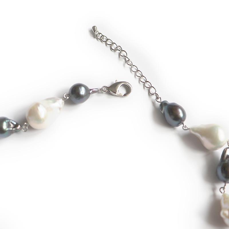 【OUTLET商品】【お買い得プライス】淡水バロックパール ネックレス ホワイト×グレー 45cm