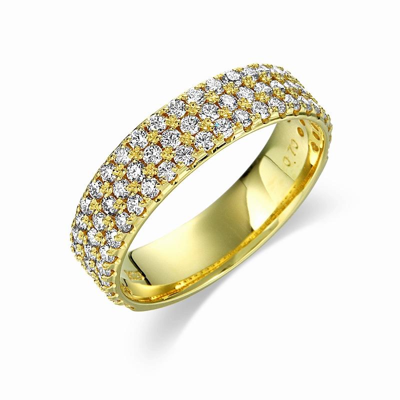 0.7カラットダイヤモンド パヴェリング イエローゴールド
