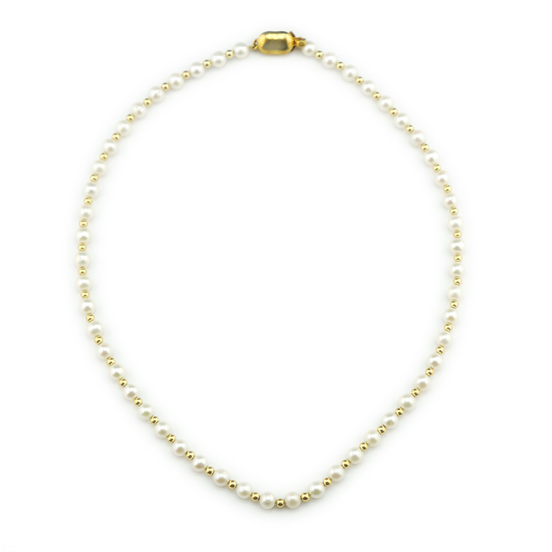 【一点物】【品質保証付き】アコヤパール  ホワイト 18金 デザインネックレス