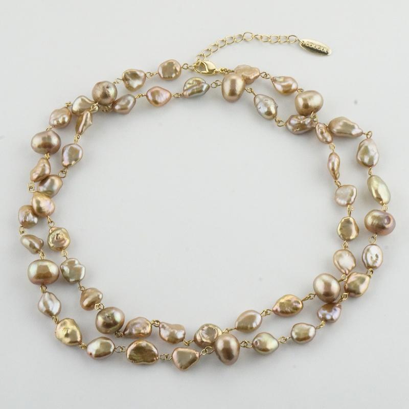 【一点物】淡水バロックパール ゴールド  デザインネックレス
