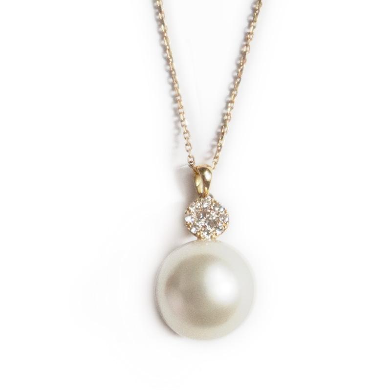南洋白蝶パール×ダイヤモンドデザインネックレス 一粒 18金イエローゴールド