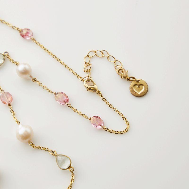 【OUTLET】【お買い得プライス】淡水パール×ピンクトパーズ×クォーツデザインネックレス