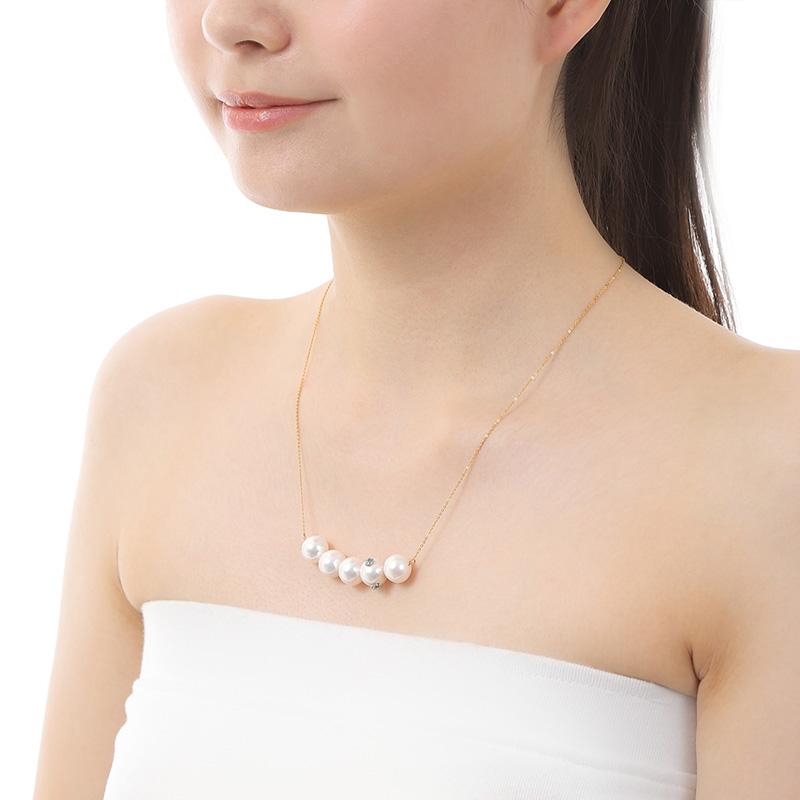 ホワイト 淡水パール×ブルートパーズ ネックレス DOT PEARL