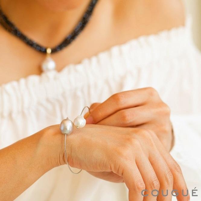 淡水真珠コンビカラーパールブレスレット グレー×ホワイト