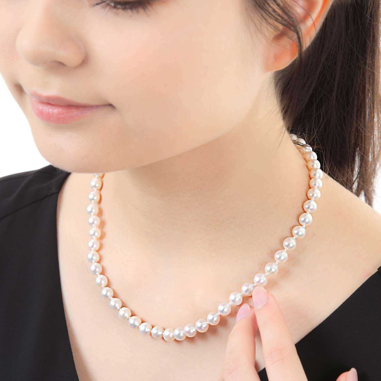 【数量限定】【品質保証付き】ハイクオリティ 淡水真珠ホワイト ネックレス 40㎝  ピアスまたはイヤリング無料でSET【冠婚葬祭にもおすすめ】