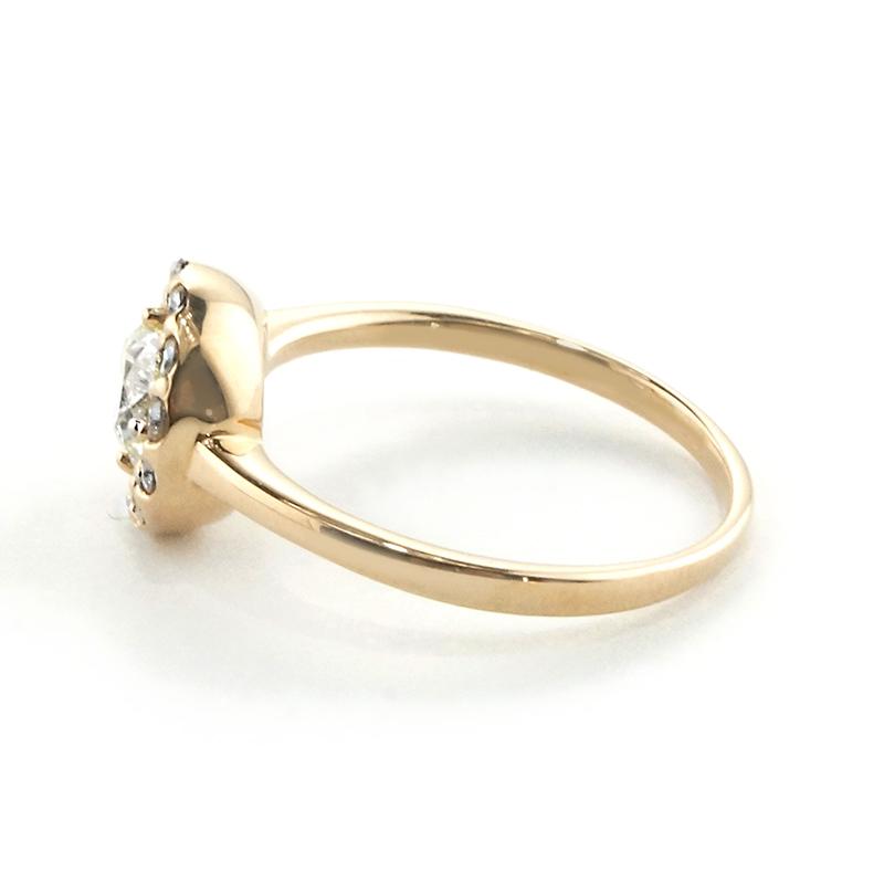 【1点物】【お買い得プライス】0.58カラットダイヤモンド 一粒デザインリング 18金 イエローゴールド