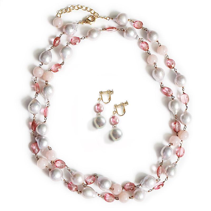 <残りわずか>淡水パール×ピンクオパール×ピンクトパーズ ネックレス 82cm イヤリング付き【品質保証付き】