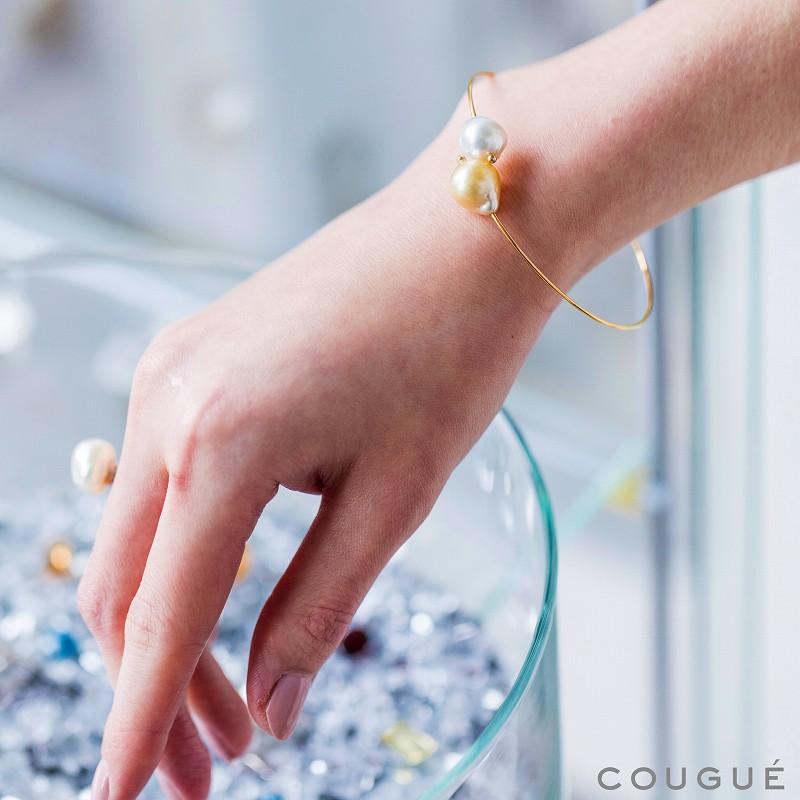 南洋真珠コンビカラーパールブレスレット ゴールド×ホワイト
