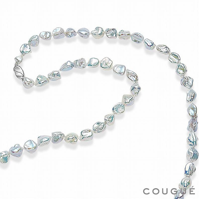 ホワイト トップグレード淡水真珠 ケシ型バロックロングネックレス ピアス・イヤリングセット