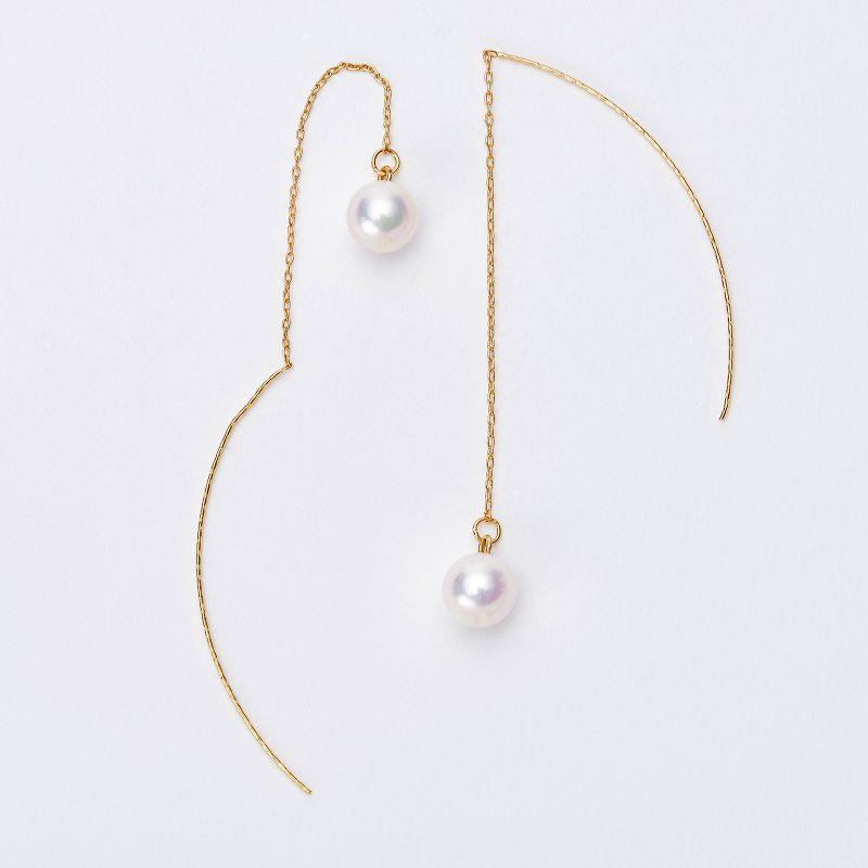 7� アコヤ真珠ホワイト デザインスイングピアス ピアス部色選択可