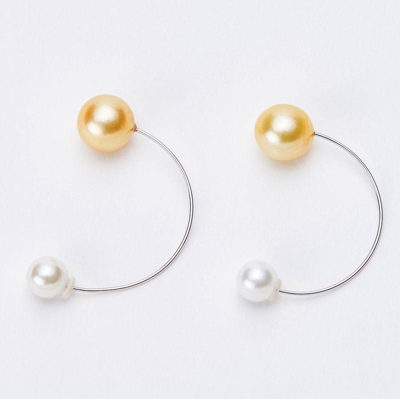 デザインパールキャッチピアス 淡水真珠 ゴールド ピアス部色選択可