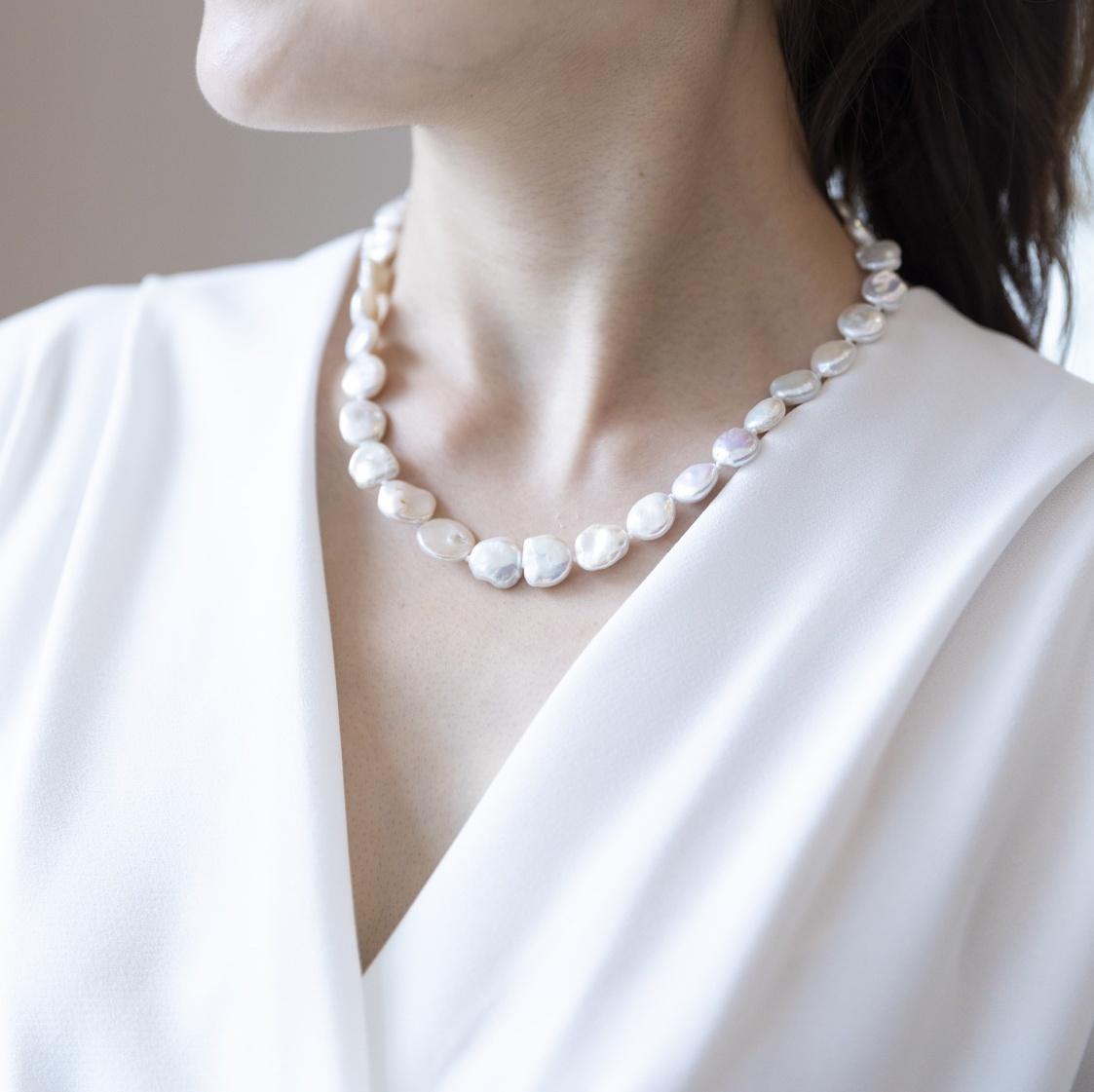 【一点物】【品質保証付き】 淡水バロックパール ホワイト ネックレス
