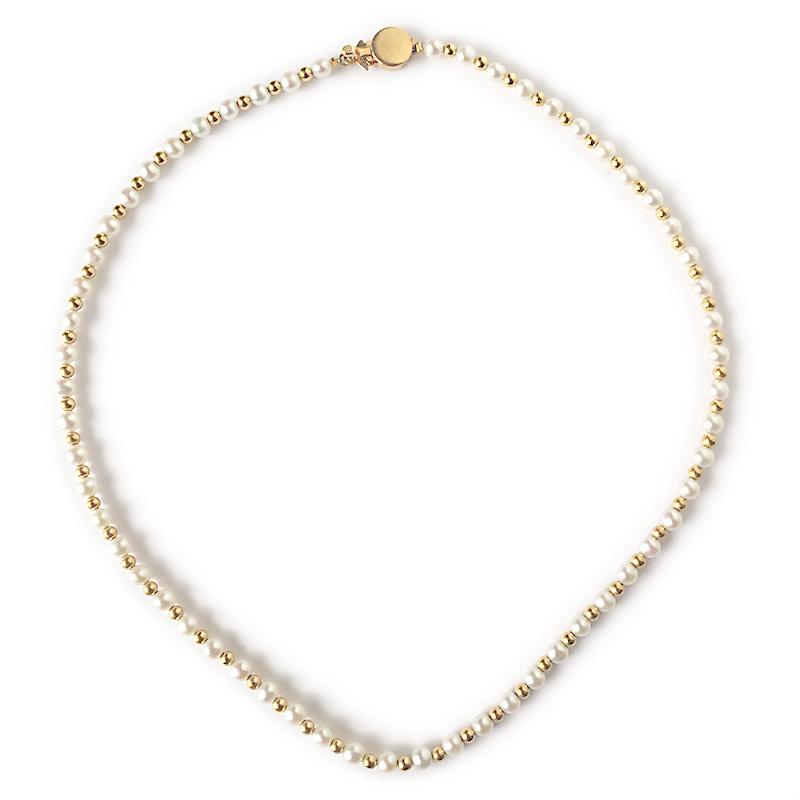 【一点物】【品質保証付き】 アコヤベビーパール ホワイト デザインネックレス
