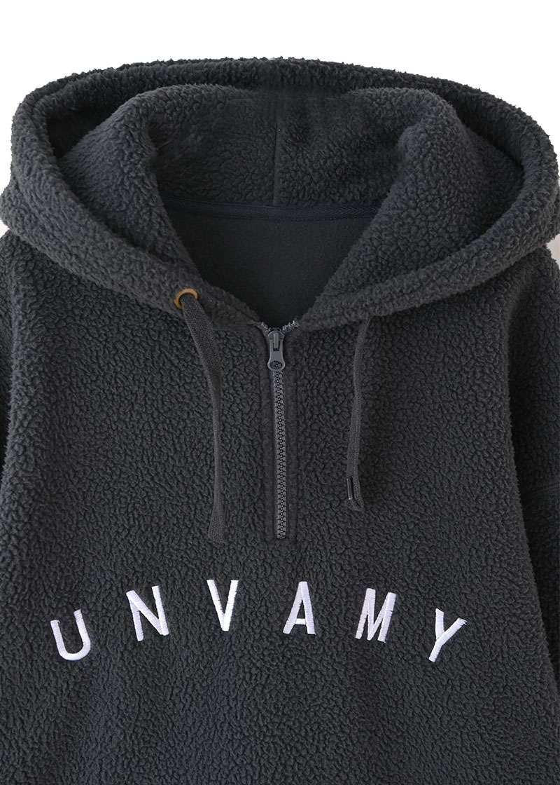 【UNVAMY】ハーフジップボアフーディー/UNISEX(ダークグレー)