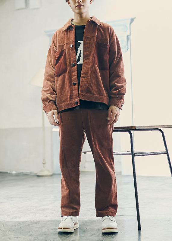 【UNVAMY】コーデュロイストレートパンツ/MENS(ブラウン)