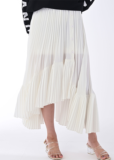 【UNVAMY】プリーツレイヤードスカート