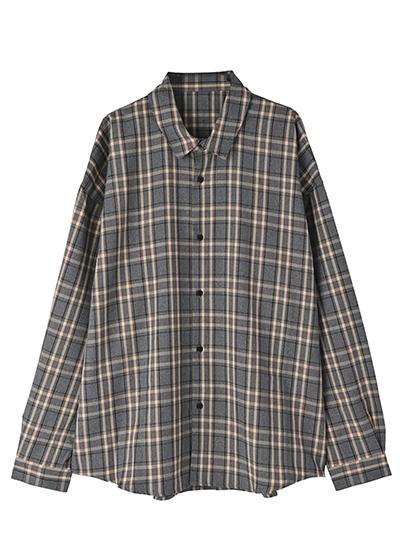 【UNVAMY】オーバーサイズチェックシャツ/MENS(グレー系)