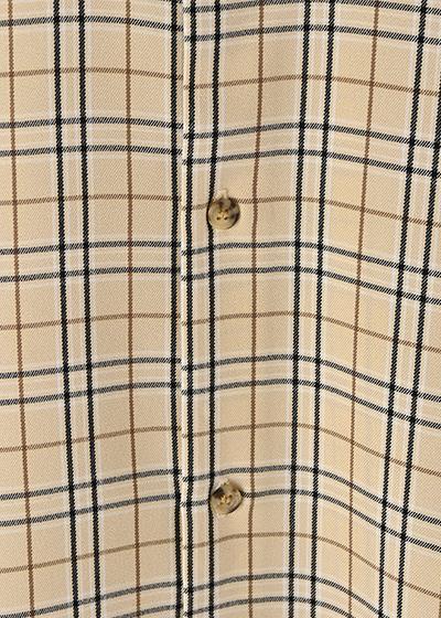 【UNVAMY】オーバーサイズチェックシャツ/MENS(ベージュ系)