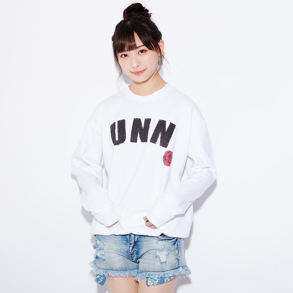 【UNEEDNOW】ロゴ×バラデザインスウェット(梅山恋和)