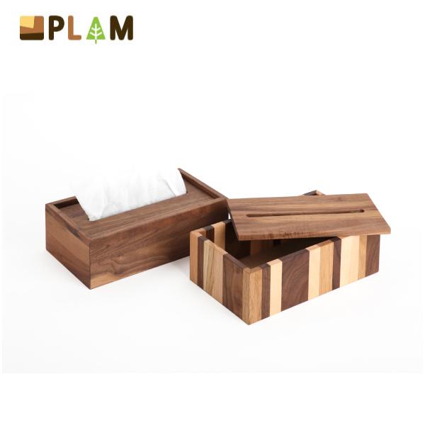 PLAM ティッシュボックス モザイク/ウォルナット 小さな無垢の木 幸せインテリア HIDAKAGU