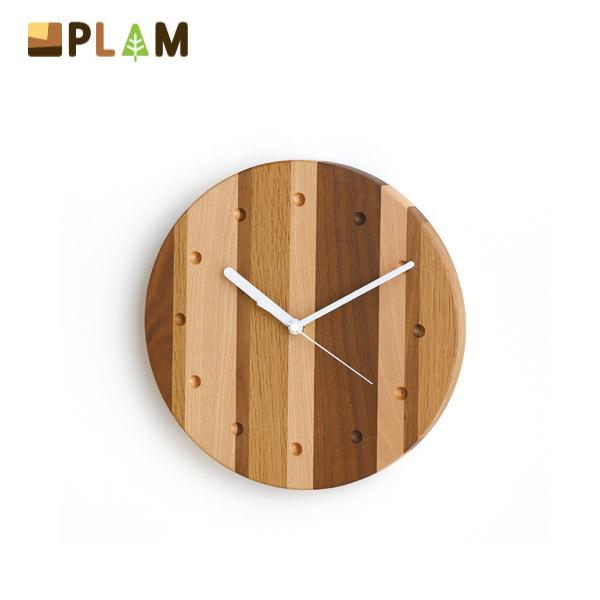 PLAM ウォールクロック モザイク丸 小さな無垢の木 幸せインテリア HIDAKAGU