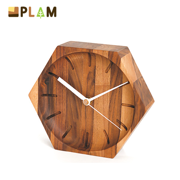 PLAM ウォールクロック 50六角 ウォルナット 小さな無垢の木 幸せインテリア HIDAKAGU