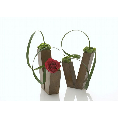 duet (2点セット・V同列型) 花器 モメンタムファクトリー・Orii(momentum factory Orii) 高岡銅器
