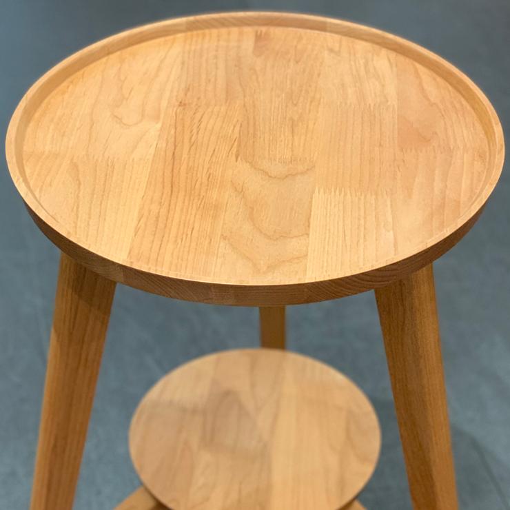 天然木のサイドテーブル ビッツ 42 W46×D46×H50(天板40Φ) アルダー 無垢 完成品